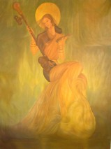 Saraswati, Goddess of music, wisdom, learning, painting by Giri Raj Sharma
