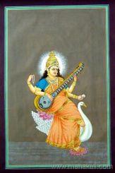 Modern Saraswati silk painting