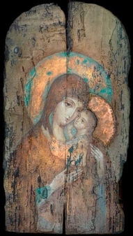 Madonna and child on wood